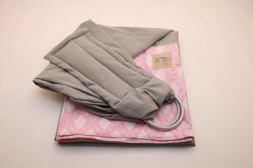 Sling de Argola Cinza Estampado Losangos Rosa